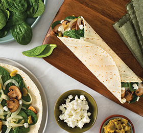 Spinach, Mushroom and Green Chile Wraps