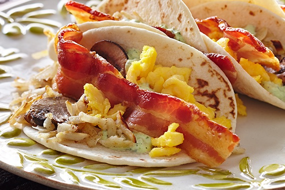 Bacon and Egg Tacos with Pesto Recipe Image
