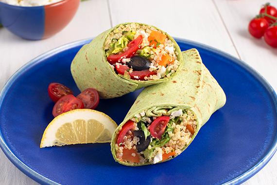Low Carb Greek Quinoa and Sweet Potato Burritos Recipe Image
