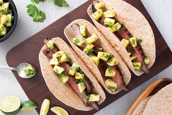 Grilled Flank Steak Tacos With Pineapple Recipe Image