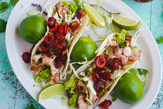 Grilled Salmon Tacos with Cherry-Chipotle Salsa Recipe Image