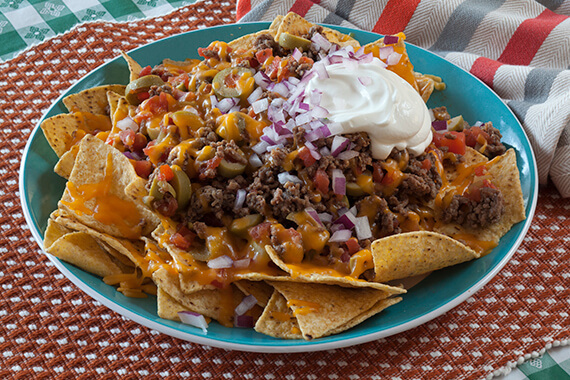 Nachos with Mexican Ground Beef & Olives Recipe Image