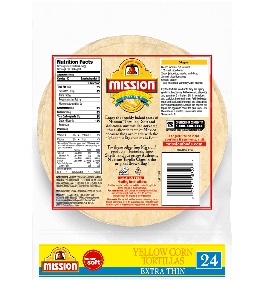 Extra Thin Yellow Corn Tortillas Mission Foods