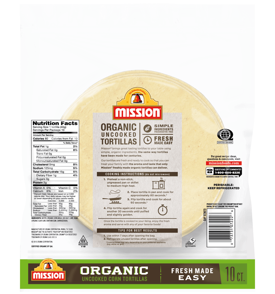 Organic Uncooked Corn Tortillas Mission Foods