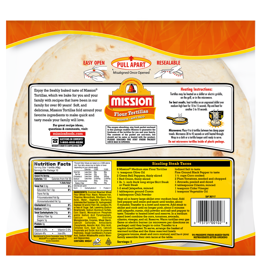 how many calories in a mission flour tortilla
