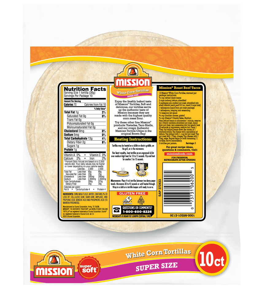 Super Size White Corn Tortillas Mission Foods