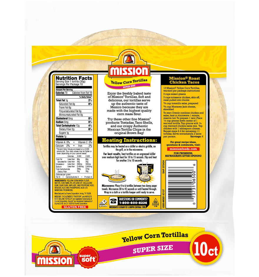 Super Size Yellow Corn Tortillas Mission Foods