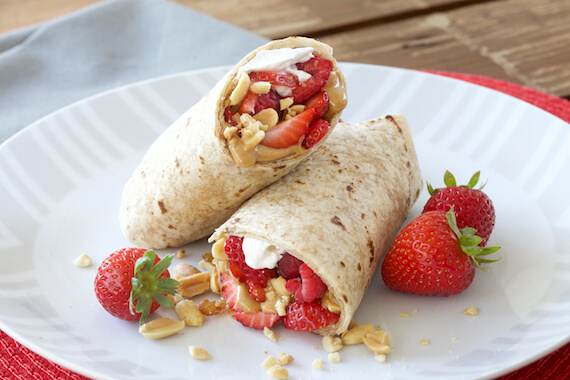 Peanut Butter and Strawberry Wraps Recipe Image