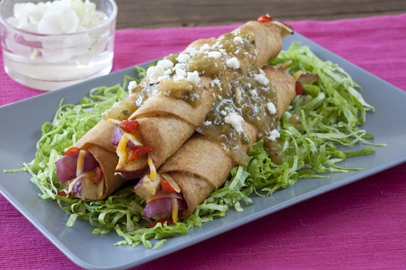 Potato and Cheese Flautas in Green Sauce Recipe Image