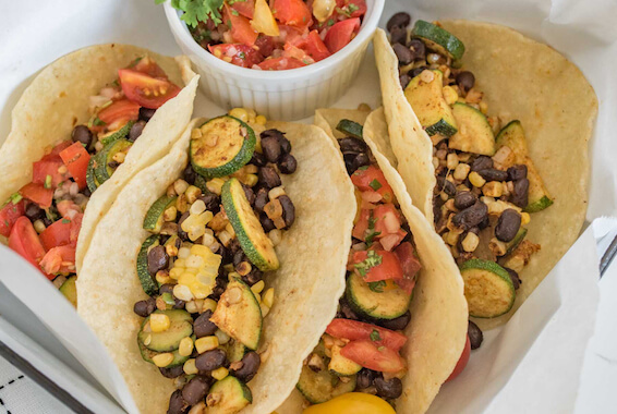 Roasted Zucchini, Corn and Black Bean Tacos Recipe Image