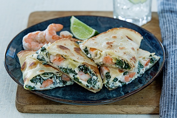 Spinach Artichoke & Shrimp Quesadillas Recipe Image