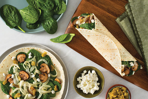 Spinach, Mushroom and Green Chile Wraps Recipe Image