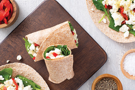 Spinach and Feta Egg White Wraps Recipe Image
