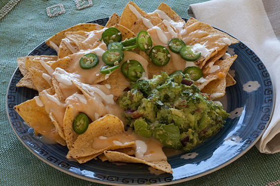 Tequila Guacamole and Cheese Nachos Recipe Image