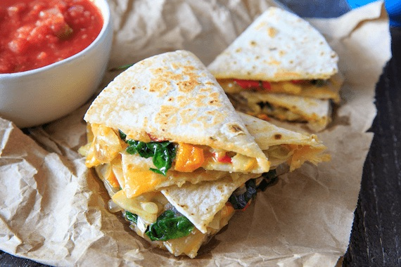 Squash, Pepper, and Spinach Quesadillas Recipe Image