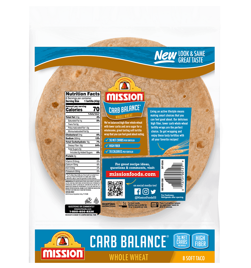 Thumbnail for Carb Balance Soft Taco Whole Wheat Tortillas