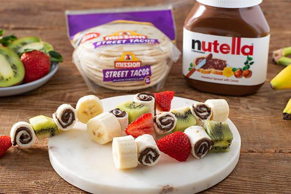 An image of Fruit Skewers with Nutella Roll Ups