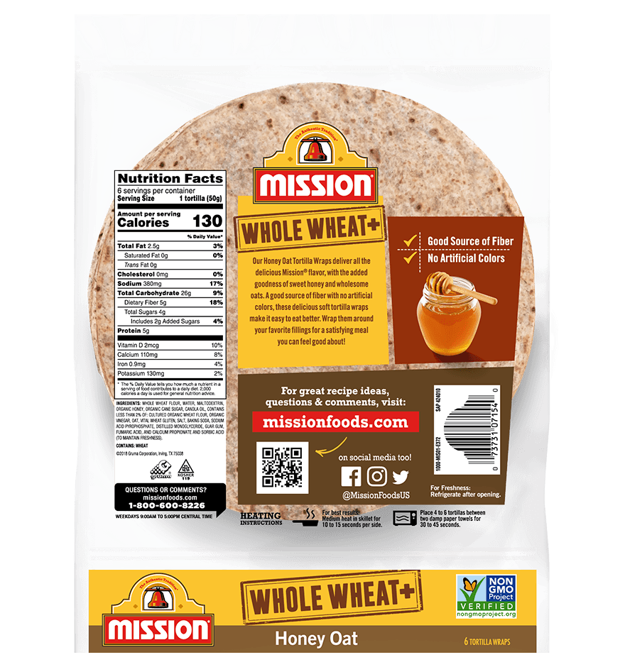 Thumbnail for Whole Wheat+ Honey Oat Tortilla Wraps