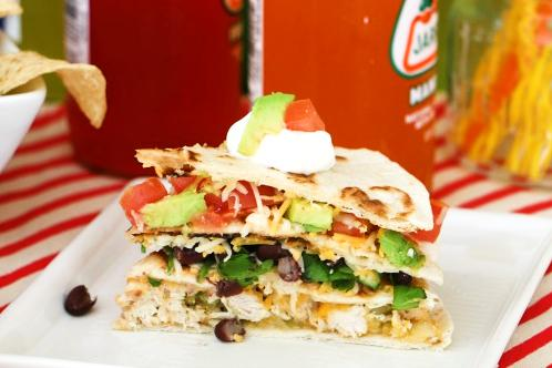 Layered Chicken Black Bean Quesadilla Recipe Image