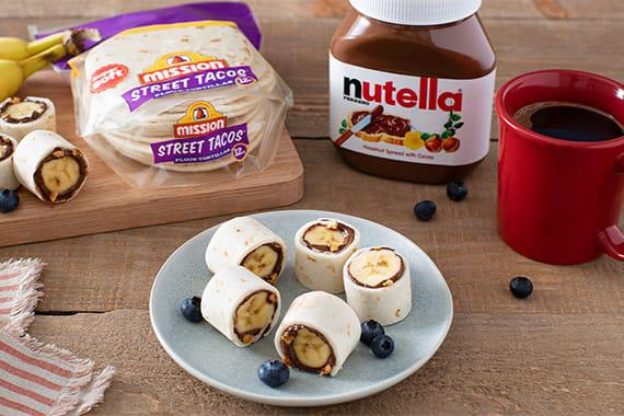 Nutella Banana Tortilla Roll Ups Recipe Image