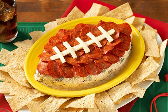 Football-Shaped Pepperoni Pizza Dip Recipe Image