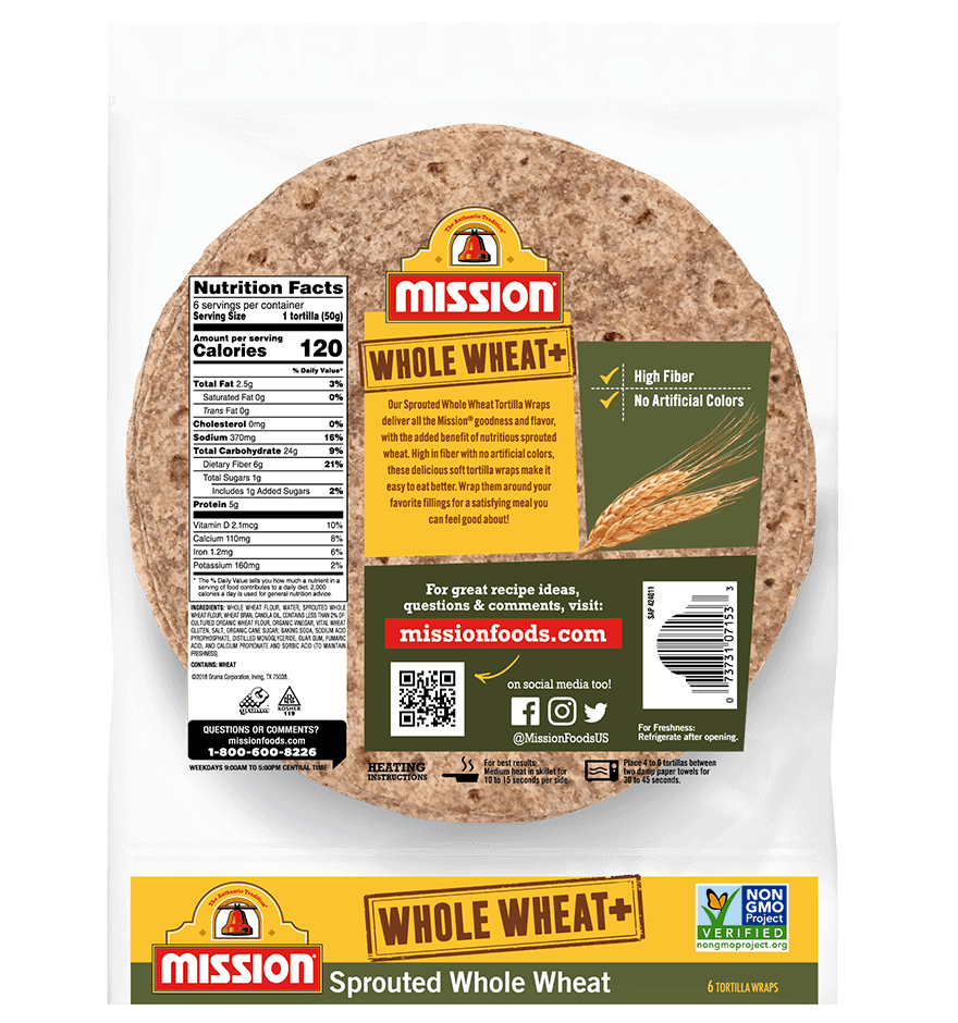 Thumbnail for Whole Wheat+ Sprouted Whole Wheat Tortilla Wraps